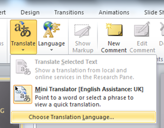How to add a Translator in PowerPoint