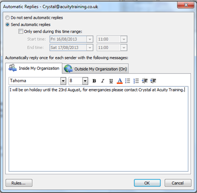 Automatic Reply Outlook Training