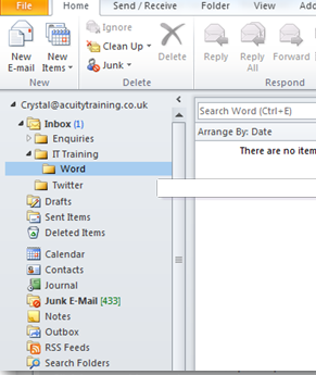 How do I create a folder in my Outlook 2010 mail box?