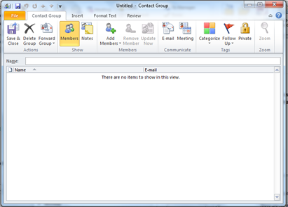 How do i create a group email quickly in outlook 2010 acuity