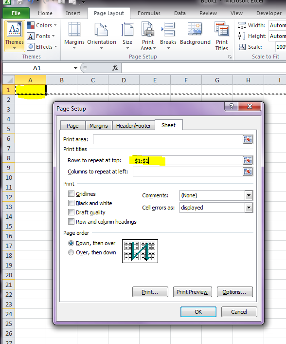 how to put a page break in 2 rows