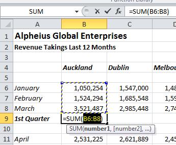 autosum 2 Excel 2010