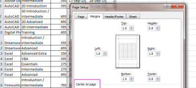 Excel – Page Layout