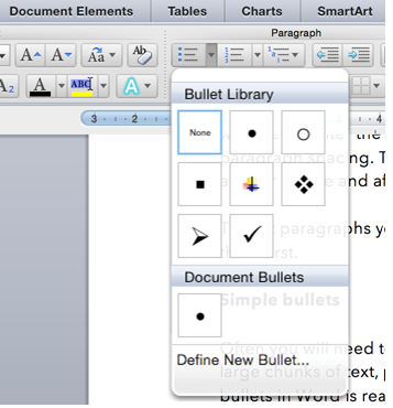 how to get bullets to line up in word