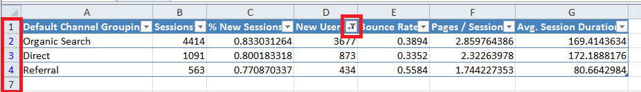 Excel For SEO - Ch 1 - 13 - Filter Applied