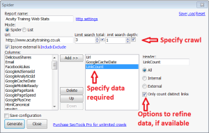 Appendix 4 - SEO Tools For Excel - Shot 4 Spider Dialogue Box