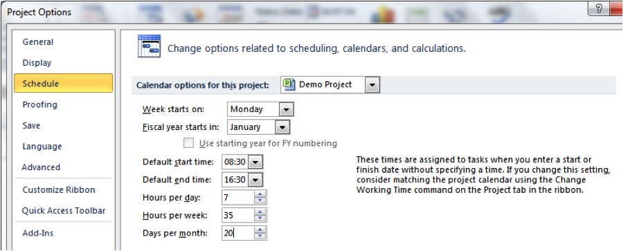 Editing Calendar options to Match schedule screenshot in Microsoft Project