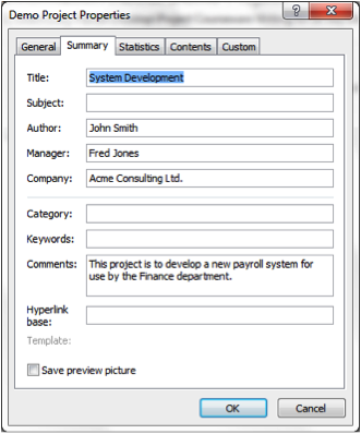 Screen Grab Of Project Properties Dialgue Box in Microsoft Project