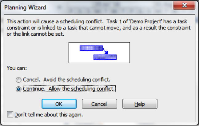 Planning Wizard screenshot in Microsoft Project