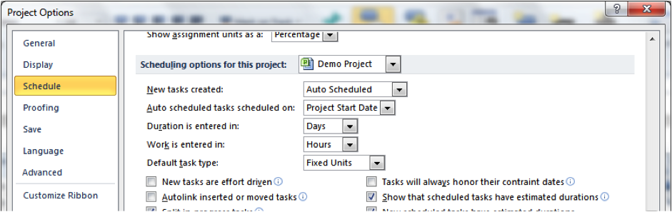 Project options screenshot in Microsoft Project