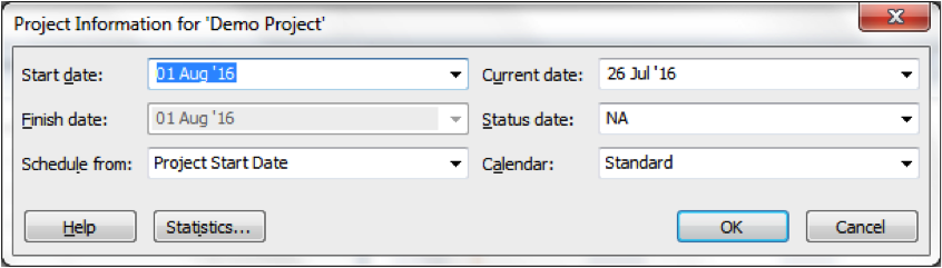 Screen Grab Of Project Information Dialogue Box In Microsoft Project