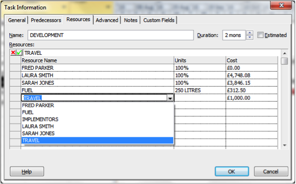 Task information dialogue box in Microsoft Project