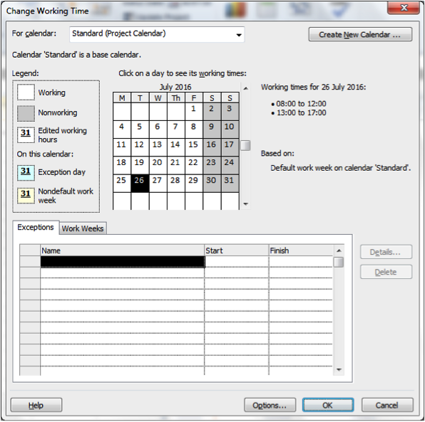 Change Working Time Screenshot in Microsoft Project