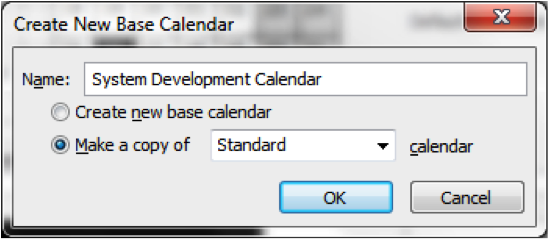 Create New Base Calendar Screenshot in Microsoft Project