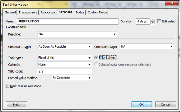 Using Task Information dialogue box for Resource driven scheduling in Microsoft Project