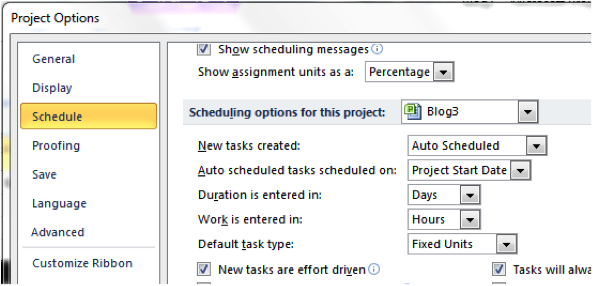 Setting default values for future projects in Microsoft Project