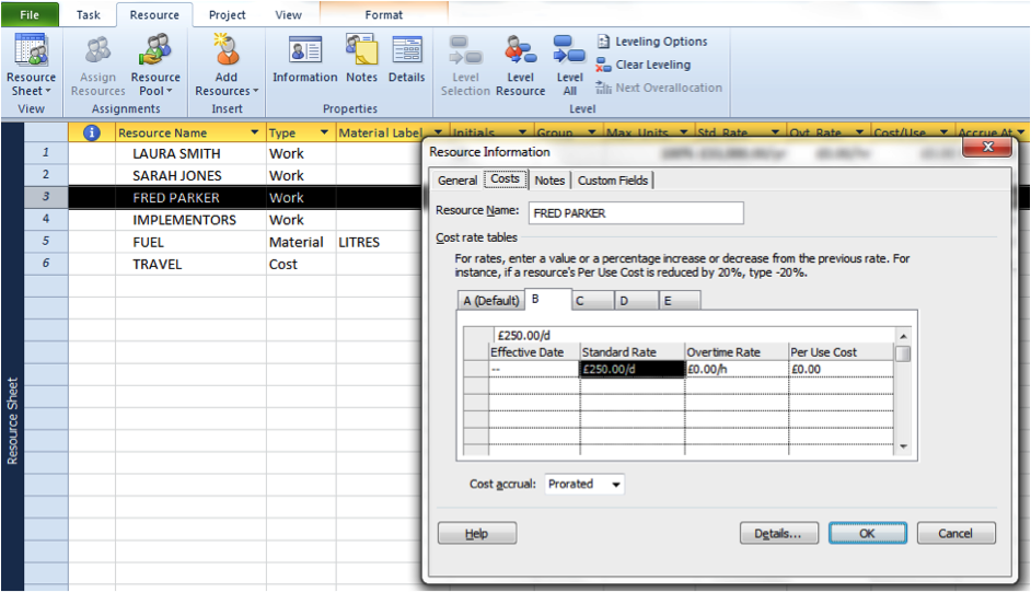 Screenshot of changing costings in Microsoft Project