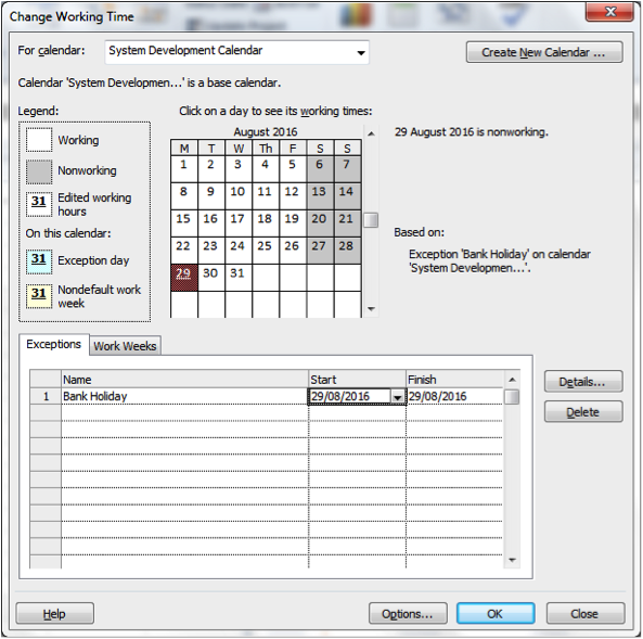 Create New Calendar Dialogue Box in Microsoft Project