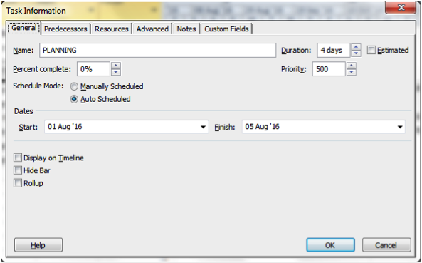 Using task information dialogue box to level tasks in Microsoft Project