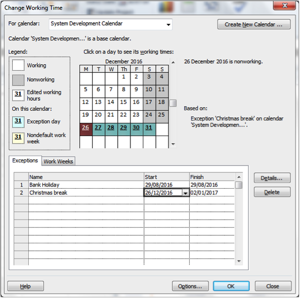 Adjusting for bank holidays screenshot in Microsoft Project