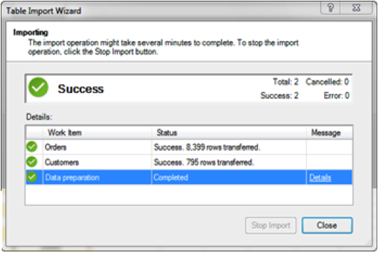 Ch 2 - 6 - Excel PowerPivot Table Import Wizard Final Screen