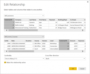 Ch 4 - 5 - Excel PowerBI Edit Relationships Dialogue Box
