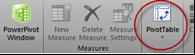 Ch 6 - 3 - Excel PowerPivot PivotTable Button