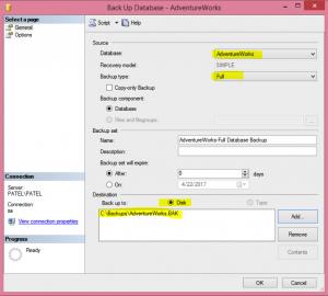 Image of Full Database Backup in GUI