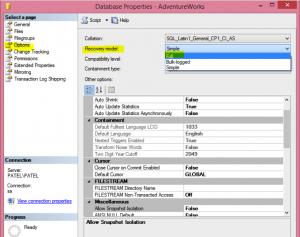 Transaction Log Backup of Database in GUI