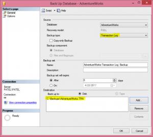Transaction Log Backup via GUI Image 2