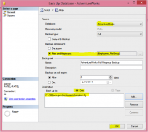 Carrying out Filegroup Backup In GUI Image 2