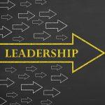 Large bright arrow containing leadership