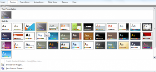 How to apply a Theme to your PowerPoint Presentation
