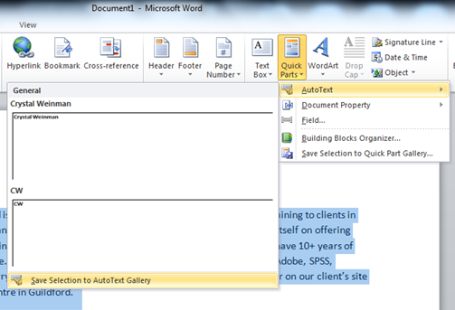 How To Insert Building Block In Word