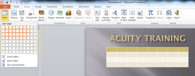How to Insert a Table in PowerPoint - Acuity Training