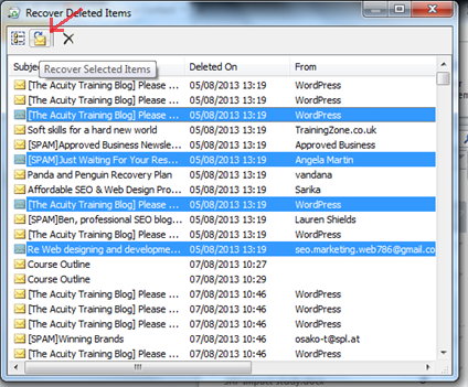 Recover Deleted Items Outlook Training