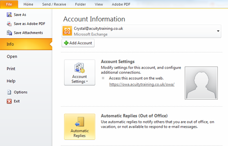Automatic Reply Outlook Training1