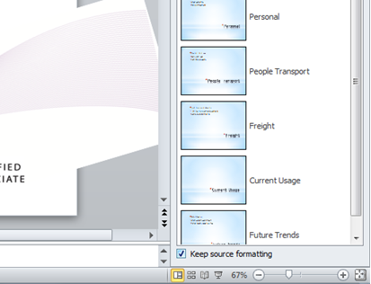 How do I insert slides in PowerPoint 2007 and 2010 from other presentations?