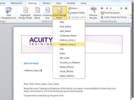 How Do I Use Mail Merge In Word 2007 Or 2010 Acuity Training