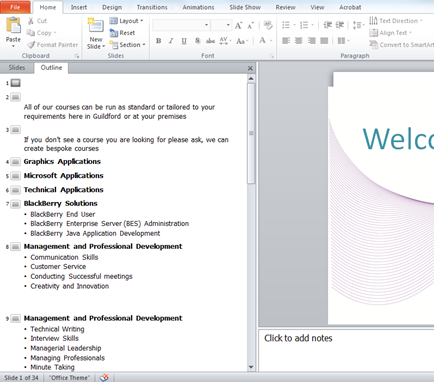 What is Outline view in PowerPoint?