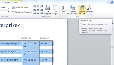 How can I convert text into a table format in Word 2007 or 2010?