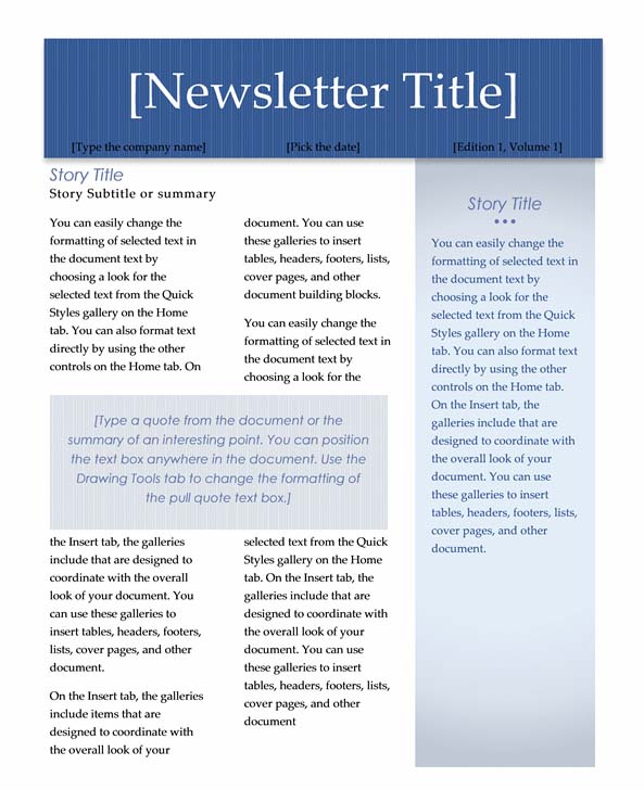 Microsoft Newsletter Templates Word. Creating Columns For A Newsletter In Word  2007 Or 2010 Acuity .  Free Newsletter Templates For Microsoft Word 2007