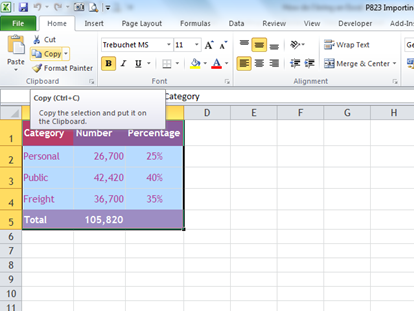 How do I bring an Excel chart into a PowerPoint 2007 and 2010 presentation?