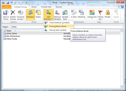 How do I create a group email quickly in Outlook 2010?