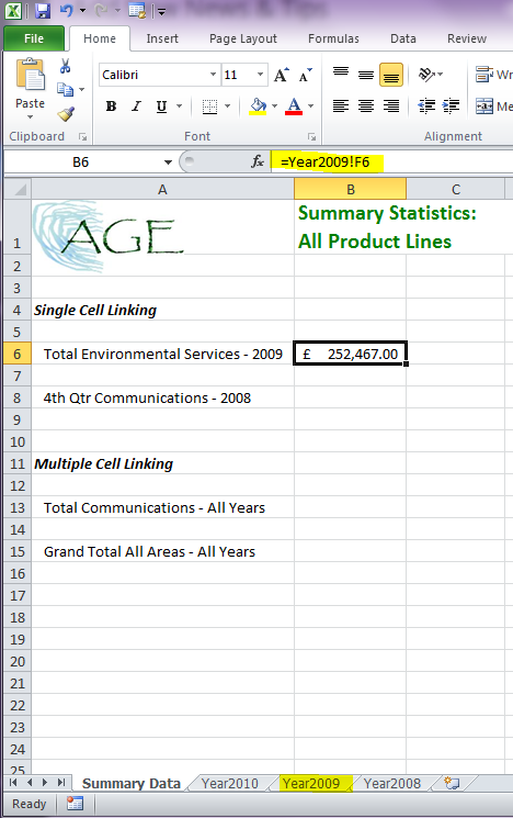 Data linking in Excel