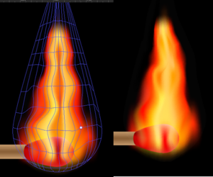 Flame with appropriate colouring and correct points