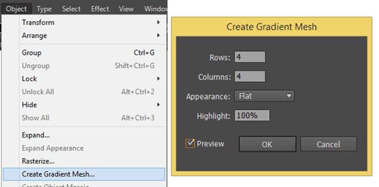 Menu showing the gradient mesh options