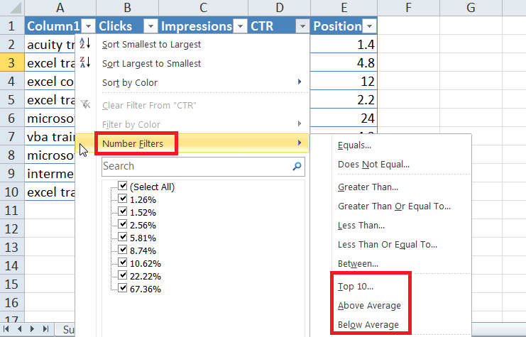 Excel For SEO - Ch 1 - 13 b - Filter For Top 10 Average