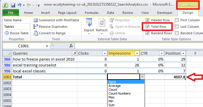 Excel For SEO - Ch 1 - 15 - Total Row