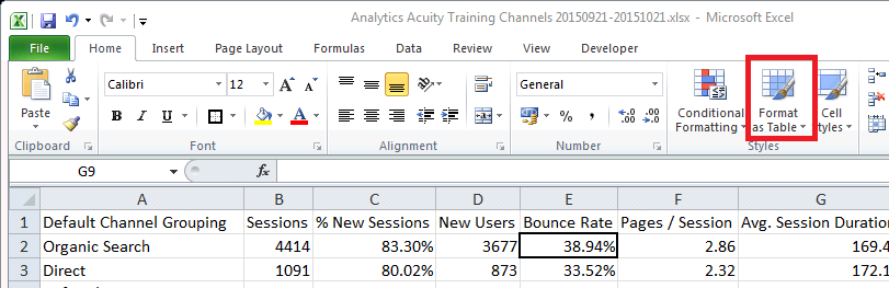 Excel For SEO - Ch 1 - 2 - Format As Table
